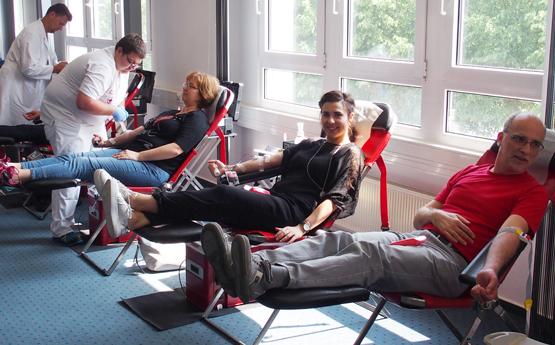 Die Mitarbeiter von SHD wurden beim Blutspenden bestens vom DRK in entspannter Atmosphäre versorgt.